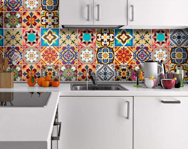 Traditional-Talavera-stickers-faux-kitchen-backsplash-via-smallspaces.about.com